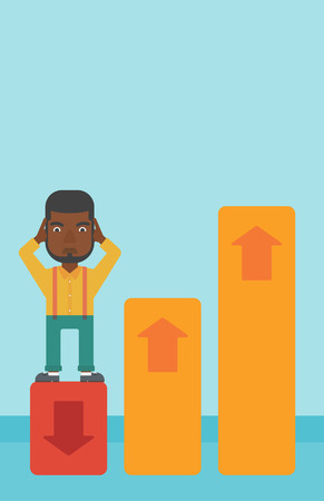 going down: An african-american bankrupt clutching his head. Bankrupt standing on chart going down. Concept of business bankruptcy. Vector flat design illustration. Vertical layout.