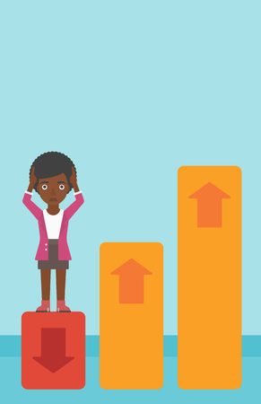 market bottom: An african-american business woman clutching her head. Bankrupt standing on chart going down. Concept of business bankruptcy. Vector flat design illustration. Vertical layout.