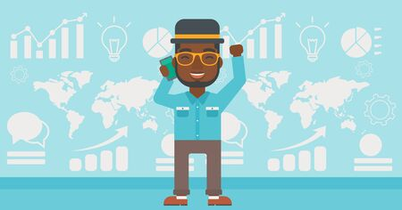 good news: An african-american businessman getting good news on mobile phone on the background of growth charts and map. Business success concept. Vector flat design illustration. Horizontal layout. Illustration