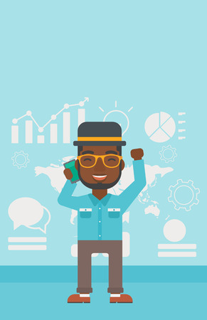 good news: An african-american businessman getting good news on mobile phone on the background of growth charts and map. Business success concept. Vector flat design illustration. Vertical layout.