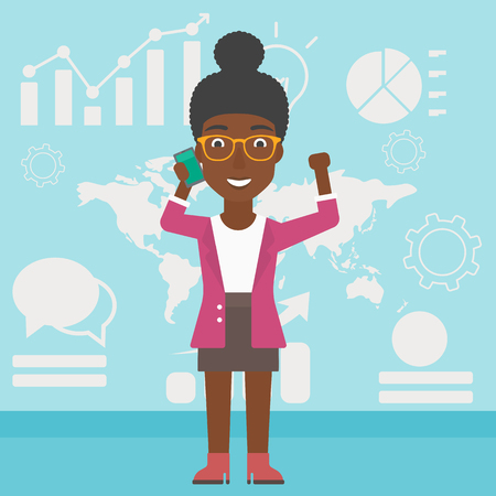 good news: An african-american business woman getting good news on mobile phone on the background of growth charts and map. Business success concept. Vector flat design illustration. Square layout. Illustration