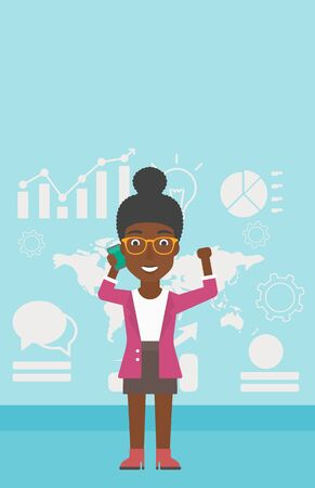 good news: An african-american business woman getting good news on mobile phone on the background of growth charts and map. Business success concept. Vector flat design illustration. Vertical layout.