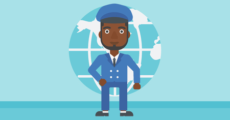 flat earth: An african-american businessman standing on background of Earth globe. Business man taking part in global business. Global business concept. Vector flat design illustration. Horizontal layout.