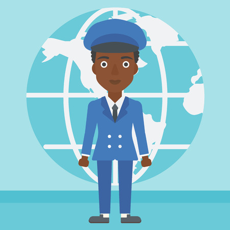 business woman standing: An african-american business woman standing on a background of Earth globe. Business woman taking part in global business. Global business concept. Vector flat design illustration. Square layout.