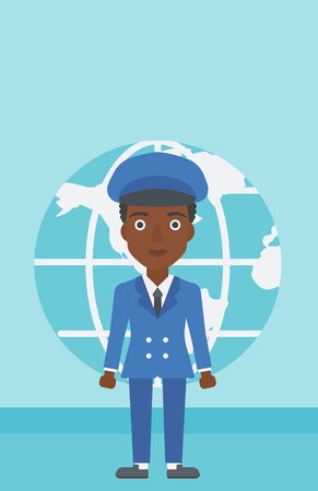 business woman standing: An african-american business woman standing on a background of Earth globe. Business woman taking part in global business. Global business concept. Vector flat design illustration. Vertical layout. Illustration