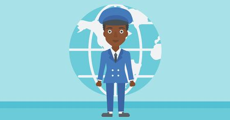 business woman standing: An african-american business woman standing on a background of Earth globe. Business woman taking part in global business. Global business concept. Vector flat design illustration. Horizontal layout.