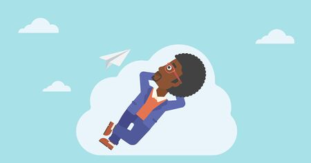 flying paper: An african-american businessman lying on a cloud and looking at flying paper plane. Businessman relaxing on a cloud. Vector flat design illustration. Horizontal layout. Illustration
