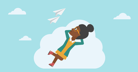 flying paper: An african-american business woman lying on a cloud and looking at flying paper plane. Business woman relaxing on a cloud. Vector flat design illustration. Horizontal layout. Illustration