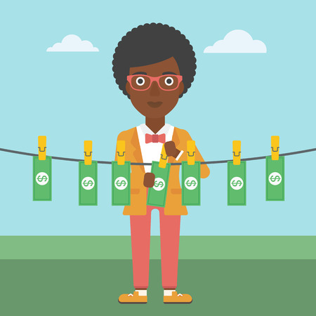 counterfeit: An african-american business woman drying banknotes on the clothesline on the background of blue sky. Woman loundering money. Vector flat design illustration. Square layout.