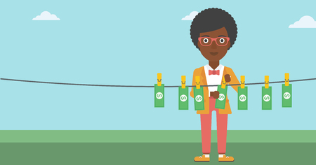 dinero falso: An african-american business woman drying banknotes on the clothesline on the background of blue sky. Woman loundering money. Vector flat design illustration. Horizontal layout. Vectores