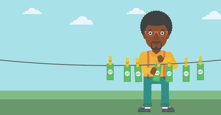An african-american businessman drying banknotes on the clothesline on the background of blue sky. Man loundering money. Vector flat design illustration. Horizontal layout.