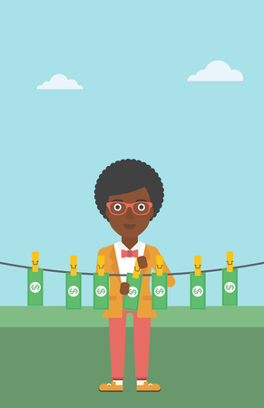 counterfeit: An african-american business woman drying banknotes on the clothesline on the background of blue sky. Woman loundering money. Vector flat design illustration. Vertical layout. Illustration