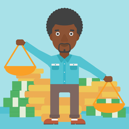 outweigh: An african-american businessman holding scales in hands on a blue background with stacks of coins. Vector flat design illustration. Square layout.
