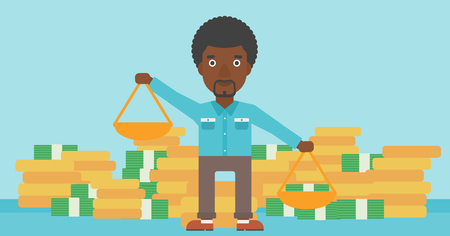 outweigh: An african-american businessman holding scales in hands on a blue background with stacks of coins. Vector flat design illustration. Horizontal layout.