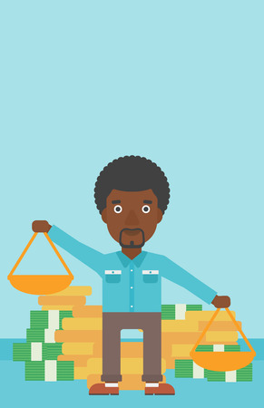 outweigh: An african-american businessman holding scales in hands on a blue background with stacks of coins. Vector flat design illustration. Vertical layout.