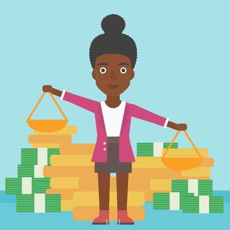 outweigh: An african-american business woman holding scales in hands on a blue background with stacks of coins. Vector flat design illustration. Square layout.