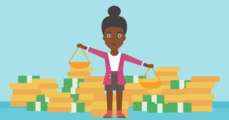 Een Afrikaans-Amerikaanse schalen van de bedrijfsvrouwenholding in handen op een blauwe achtergrond met stapels muntstukken. Vector platte ontwerp illustratie. Horizontale lay-out.