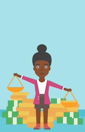 An african-american business woman holding scales in hands on a blue background with stacks of coins. Vector flat design illustration. Vertical layout.