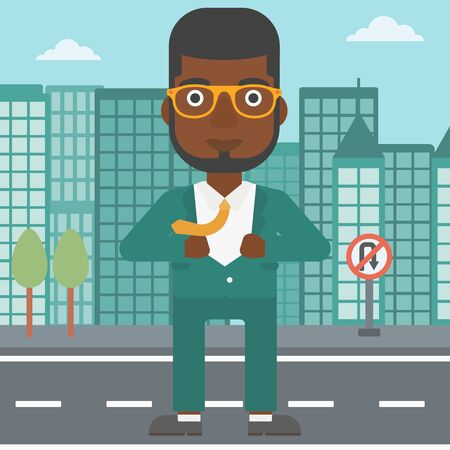 undress: An african-american businessman opening his jacket like superhero on the background of modern city. Businessman superhero. Vector flat design illustration. Square layout.