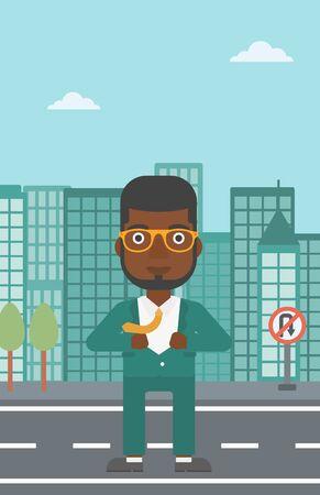undress: An african-american businessman opening his jacket like superhero on the background of modern city. Businessman superhero. Vector flat design illustration. Vertical layout.