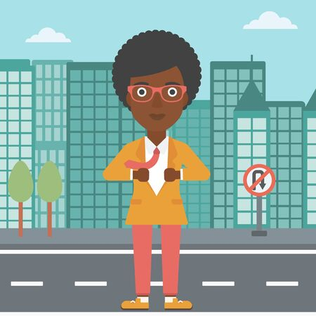 undress: An african-american business woman opening her jacket like superhero on the background of modern city. Business woman superhero. Vector flat design illustration. Square layout.