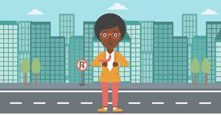 undress: An african-american business woman opening her jacket like superhero on the background of modern city. Business woman superhero. Vector flat design illustration. Horizontal layout.