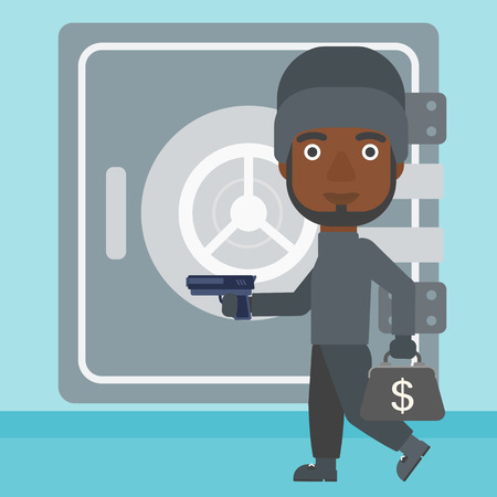 An african-american burglar in mask near the big safe door. Burglar holding hand gun and a bag with dollar sign. Thief stealing money. Vector flat design illustration. Square layout.