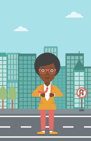 undress: An african-american business woman opening her jacket like superhero on the background of modern city. Business woman superhero. Vector flat design illustration. Vertical layout.