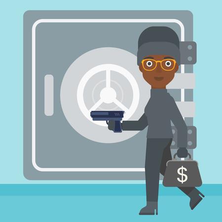 hand gun: An african-american burglar in mask near the big safe door. Burglar holding hand gun and a bag with dollar sign. Thief stealing money. Vector flat design illustration. Square layout.