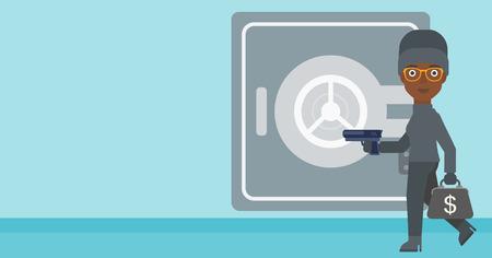 hand gun: An african-american burglar in mask near the big safe door. Burglar holding hand gun and a bag with dollar sign. Thief stealing money. Vector flat design illustration. Horizontal layout.