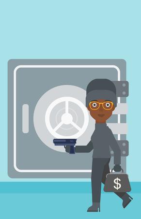 hand gun: An african-american burglar in mask near the big safe door. Burglar holding hand gun and a bag with dollar sign. Thief stealing money. Vector flat design illustration. Vertical layout.