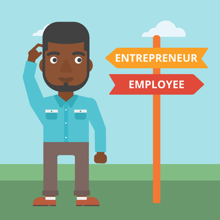 pathways: An african-american man standing at road sign with two career pathways. Man choosing career pathway. Man making a decision of his career pathway. Vector flat design illustration. Square layout.