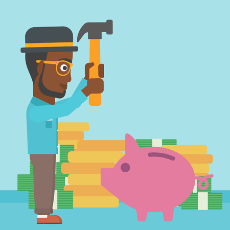 desperation: An african-american businessman breaking piggy bank on a blue background with stacks of coins. Concept of business bankruptcy. Vector flat design illustration. Square layout.