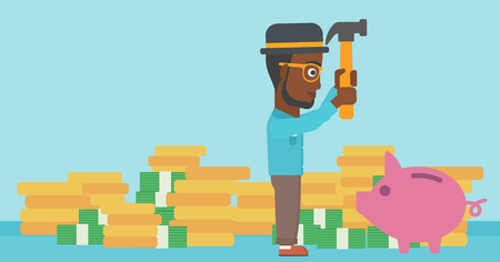 desperation: An african-american businessman breaking piggy bank on a blue background with stacks of coins. Concept of business bankruptcy. Vector flat design illustration. Horizontal layout.