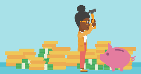 desperation: An african-american business woman breaking piggy bank on a blue background with stacks of coins. Concept of business bankruptcy. Vector flat design illustration. Horizontal layout. Illustration