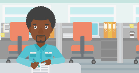 signing: African-american businessman signing business documents in office. Man is about to sign a business agrement. Confirmation of business transaction. Vector flat design illustration. Horizontal layout.