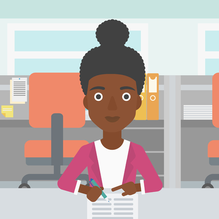 signing: An african-american woman signing business documents in office. Woman is about to sign a business agrement. Confirmation of business transaction. Vector flat design illustration. Square layout.