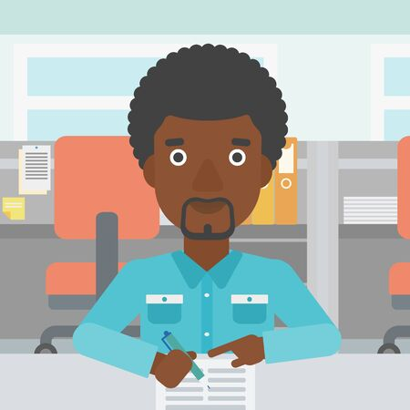 signing papers: An african-american businessman signing business documents in office. Man is about to sign a business agrement. Confirmation of business transaction. Vector flat design illustration. Square layout.