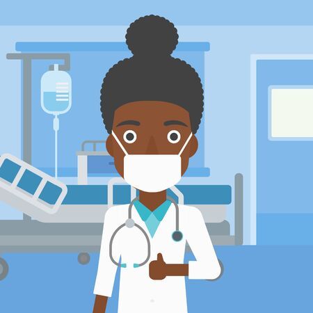 protective gown: An african-american female cheerful doctor in mask giving thumbs up while standing on the background of hospital room. Vector flat design illustration. Square layout. Stock Photo