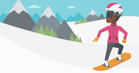 snow capped: An african-american sportswoman snowboarding on the background of snow capped mountain. Woman snowboarding in the mountains. Snowboarder in action. Vector flat design illustration. Horizontal layout.