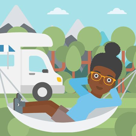 motor home: An african-american woman lying in hammock in front of motor home in the forest. Woman resting in hammock and enjoying vacation in camper van. Vector flat design illustration. Square layout.