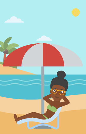 An african-american woman sitting in a chaise longue on the beach. Woman sitting under umbrella on the beach. Woman relaxing on beach chair. Vector flat design illustration. Vertical layout.