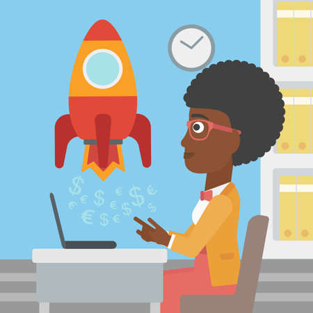 taking off: An african-american business woman sitting at the table and looking at a business start up rocket taking off. Business start up concept. Vector flat design illustration. Square layout. Illustration