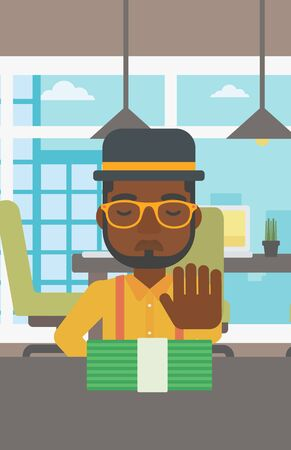 moving office: An african-american young businessman sitting at the table in office and moving dollar bills away. Vector flat design illustration. Vertical layout.