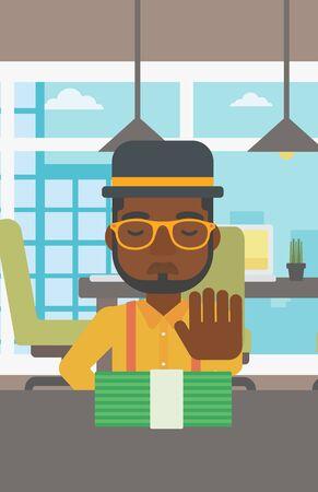 Een Afro-Amerikaanse jonge zakenman zitten aan de tafel in het kantoor en het verplaatsen van dollarbiljetten weg. Vector platte ontwerp illustratie. Verticale lay-out.