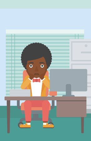 flagging: An african-american business woman sitting at workplace in front of computer monitor and clutching her head. Vector flat design illustration. Vertical layout.