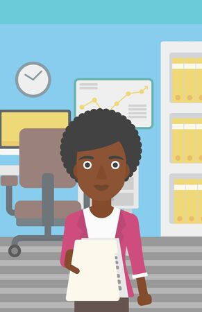 employer: An african-american young business woman giving a resume in office. Woman giving to the employer her curriculum vitae. Job interview concept. Vector flat design illustration. Vertical layout.