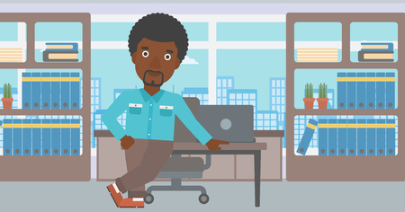 An african-american businessman leaning on a table in the office. Young smiling businessman standing in the office. Vector flat design illustration. Horizontal layout.