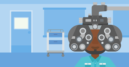 An african-american man undergoing an eye examination while visiting optometrist at the medical office. Vector flat design illustration. Horizontal layout.