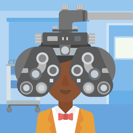 An african-american woman undergoing an eye examination while visiting optometrist at the medical office. Vector flat design illustration. Square layout.